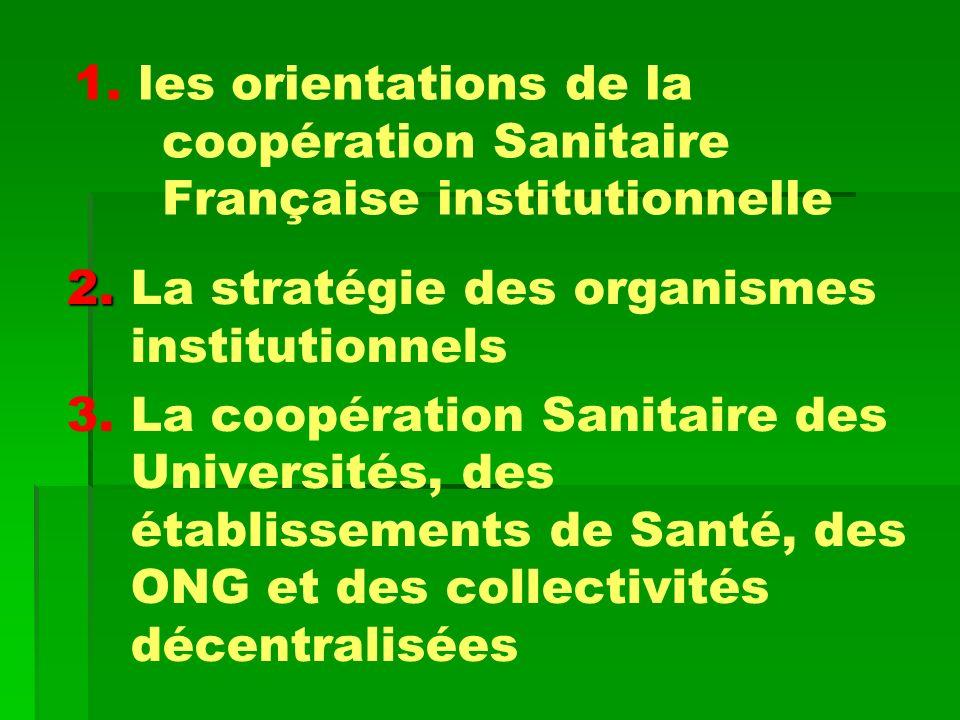 1. les orientations de la coopération Sanitaire Française institutionnelle 2. 2. La stratégie des organismes institutionnels 3. La coopération Sanitai
