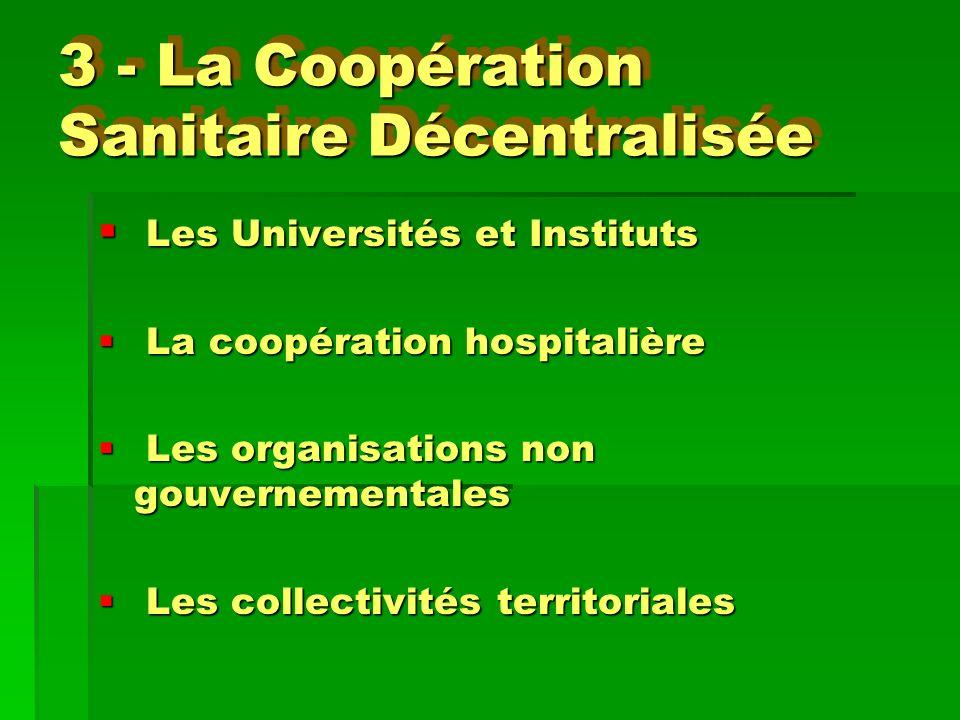 3 - La Coopération Sanitaire Décentralisée Les Universités et Instituts Les Universités et Instituts La coopération hospitalière La coopération hospit