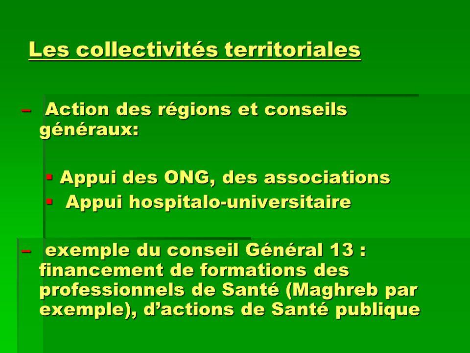 Les collectivités territoriales – Action des régions et conseils généraux: Appui des ONG, des associations Appui des ONG, des associations Appui hospi