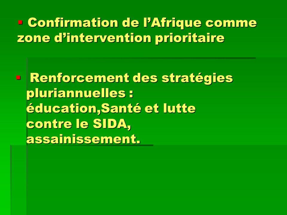 Confirmation de lAfrique comme zone dintervention prioritaire Confirmation de lAfrique comme zone dintervention prioritaire Renforcement des stratégie