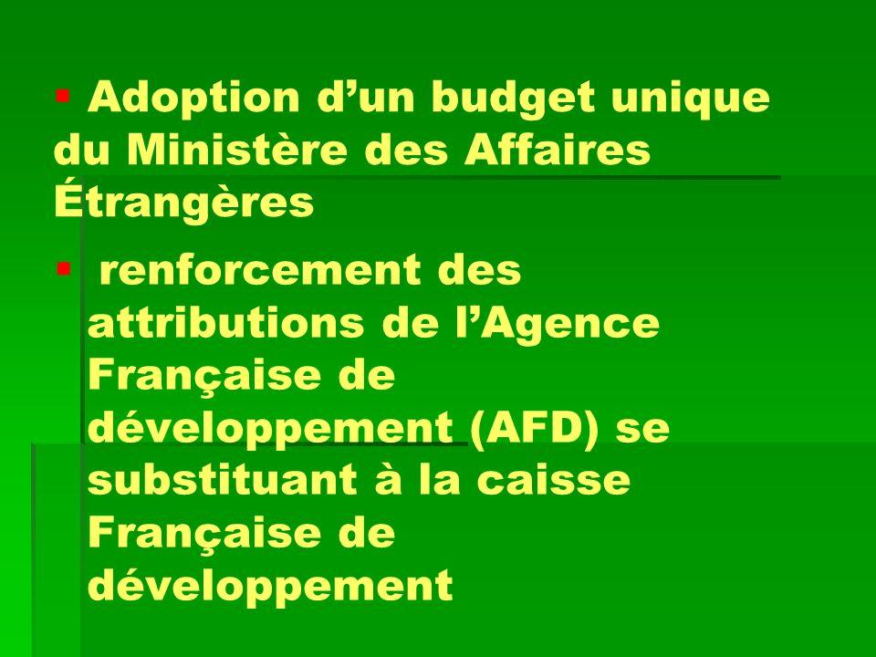 Adoption dun budget unique du Ministère des Affaires Étrangères renforcement des attributions de lAgence Française de développement (AFD) se substitua
