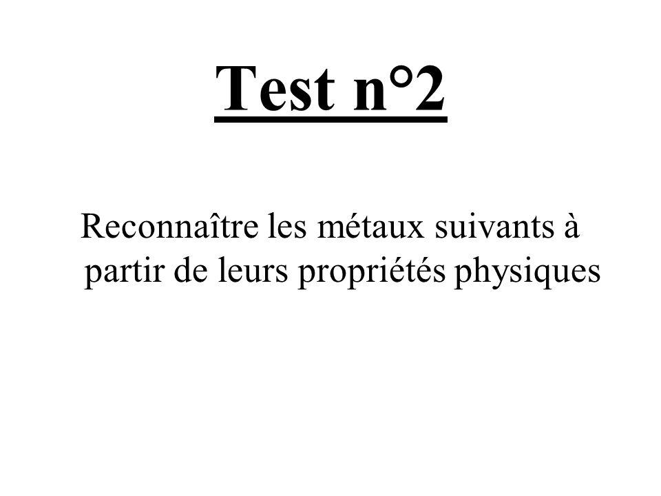 Test n°2 Reconnaître les métaux suivants à partir de leurs propriétés physiques