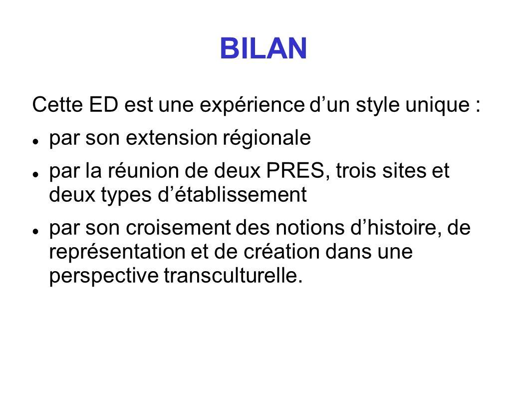 BILAN Cette ED est une expérience dun style unique : par son extension régionale par la réunion de deux PRES, trois sites et deux types détablissement