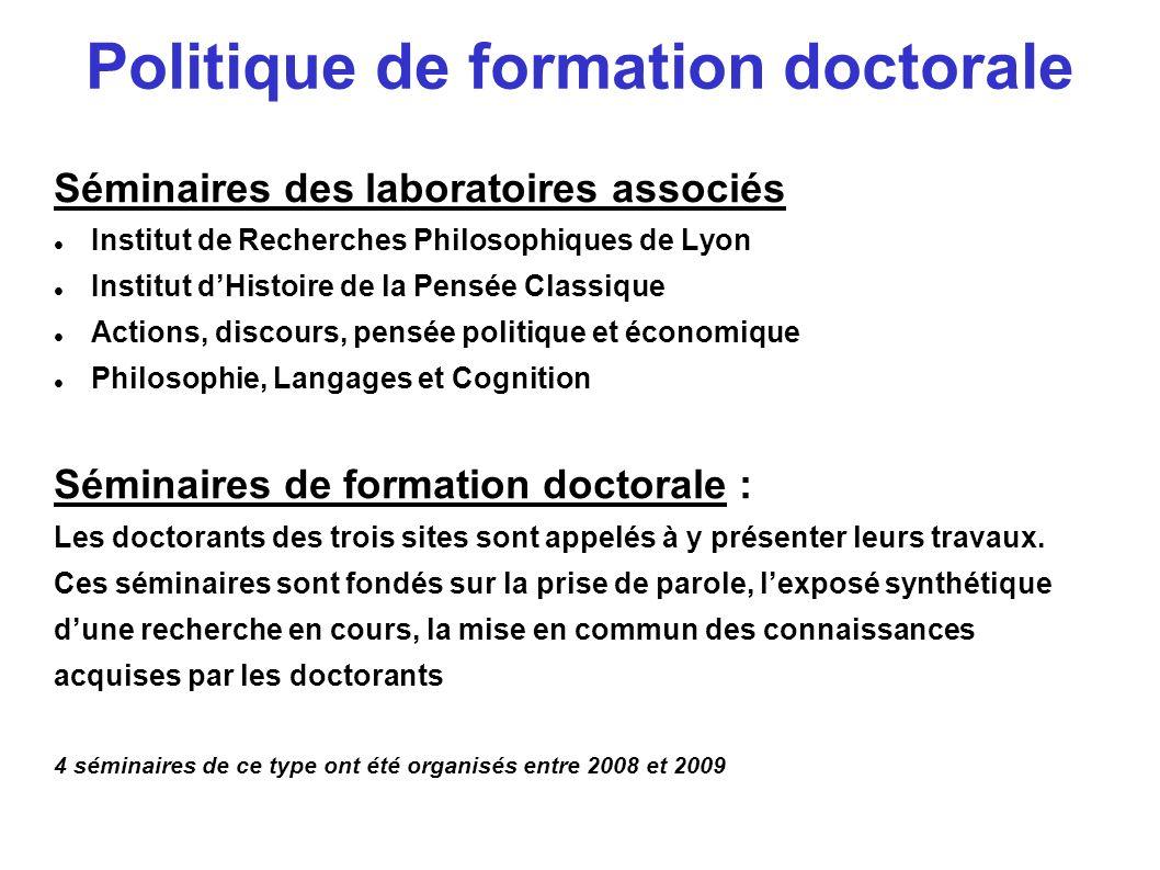 Journées doctorales : Elles résultent de la rencontre de plusieurs Ecoles Doctorales et visent à une formation transdisciplinaire Exemple: Philosophie et Droit, mai 2008 avec lEcole doctorale de Droit : Lyon3-Lyon2-Saint Etienne