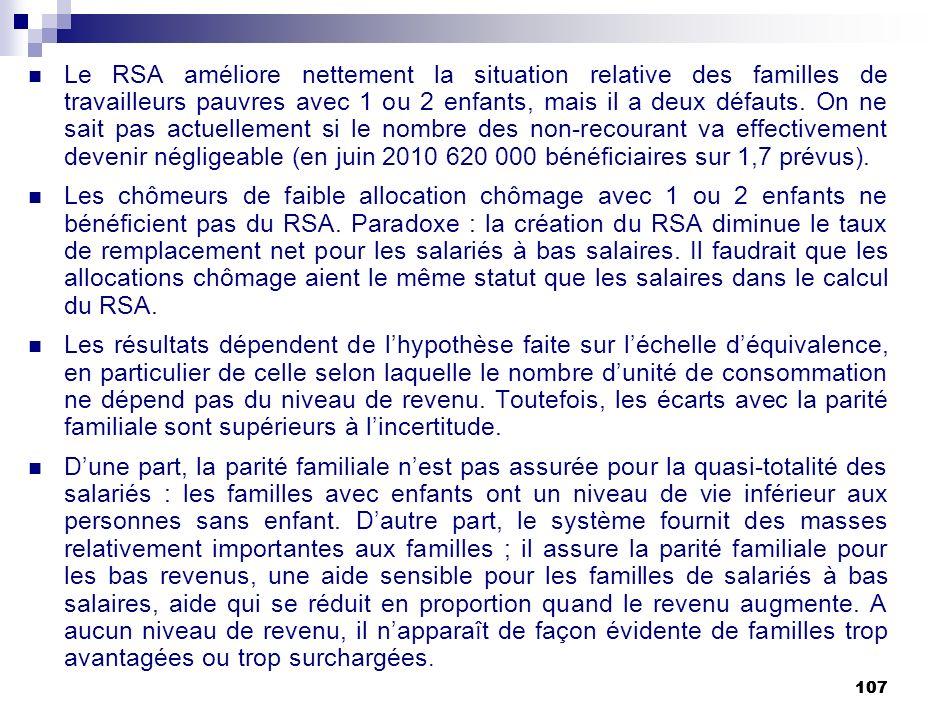 107 Le RSA améliore nettement la situation relative des familles de travailleurs pauvres avec 1 ou 2 enfants, mais il a deux défauts. On ne sait pas a