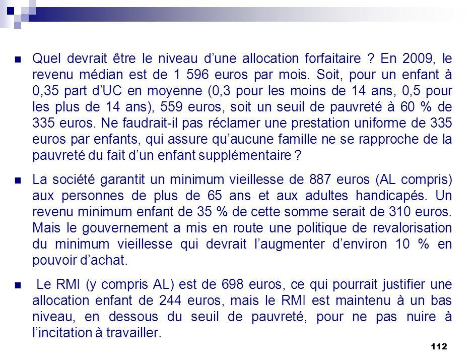 112 Quel devrait être le niveau dune allocation forfaitaire ? En 2009, le revenu médian est de 1 596 euros par mois. Soit, pour un enfant à 0,35 part