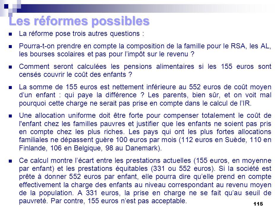 115 Les réformes possibles La réforme pose trois autres questions : Pourra-t-on prendre en compte la composition de la famille pour le RSA, les AL, le