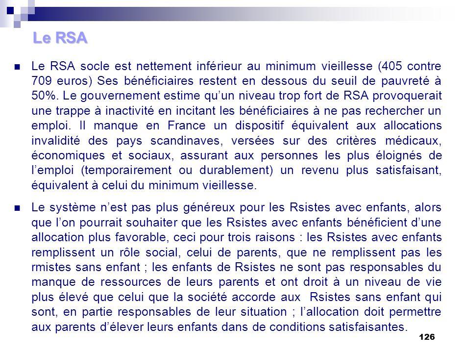 126 Le RSA Le RSA socle est nettement inférieur au minimum vieillesse (405 contre 709 euros) Ses bénéficiaires restent en dessous du seuil de pauvreté