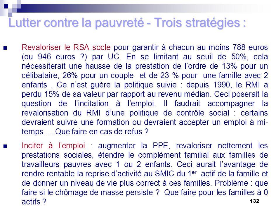 132 Lutter contre la pauvreté - Trois stratégies : Revaloriser le RSA socle pour garantir à chacun au moins 788 euros (ou 946 euros ?) par UC. En se l
