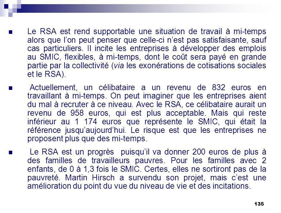 135 Le RSA est rend supportable une situation de travail à mi-temps alors que lon peut penser que celle-ci nest pas satisfaisante, sauf cas particulie