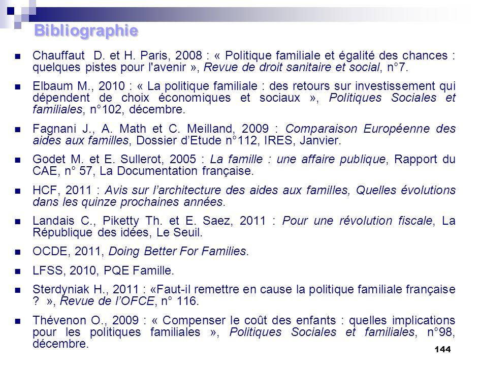 144 Bibliographie Chauffaut D. et H. Paris, 2008 : « Politique familiale et égalité des chances : quelques pistes pour l'avenir », Revue de droit sani