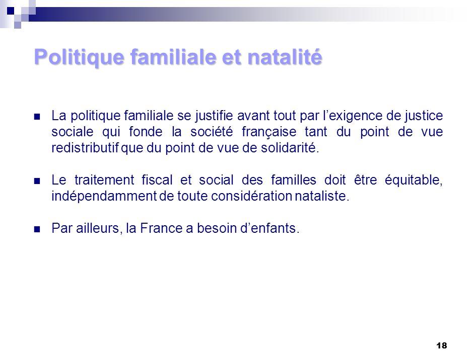 18 Politique familiale et natalité La politique familiale se justifie avant tout par lexigence de justice sociale qui fonde la société française tant