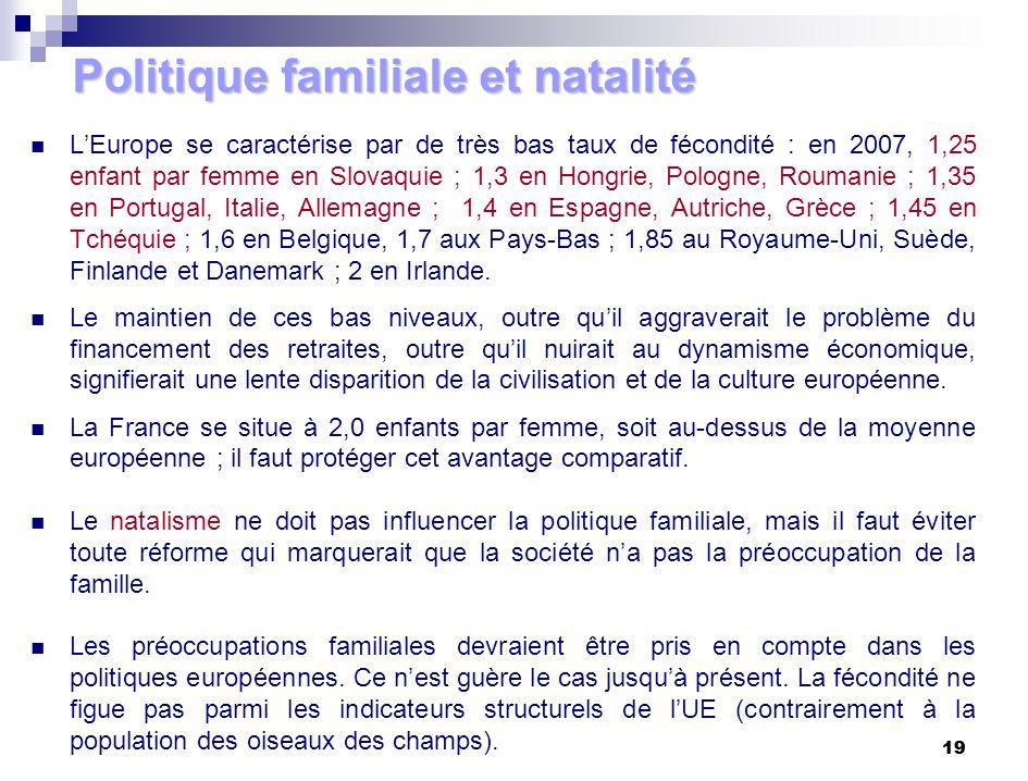 19 Politique familiale et natalité LEurope se caractérise par de très bas taux de fécondité : en 2007, 1,25 enfant par femme en Slovaquie ; 1,3 en Hon