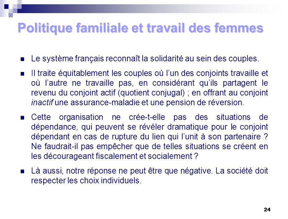 24 Politique familiale et travail des femmes Le système français reconnaît la solidarité au sein des couples. Il traite équitablement les couples où l