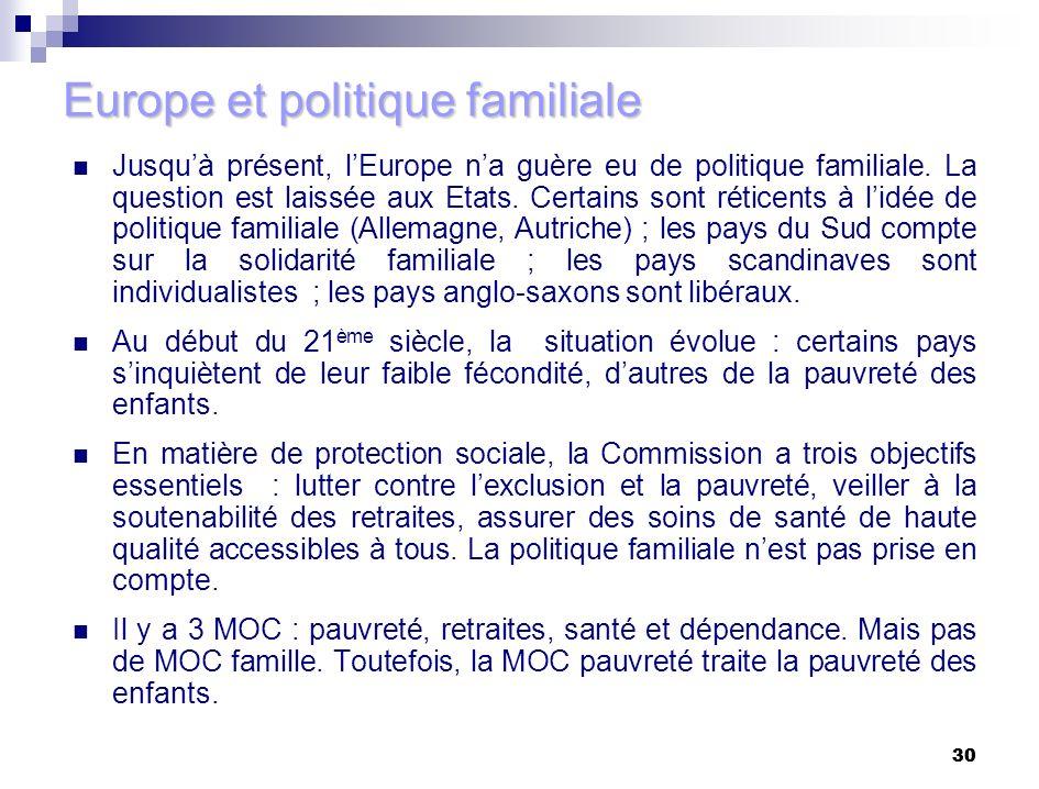 30 Europe et politique familiale Jusquà présent, lEurope na guère eu de politique familiale. La question est laissée aux Etats. Certains sont réticent