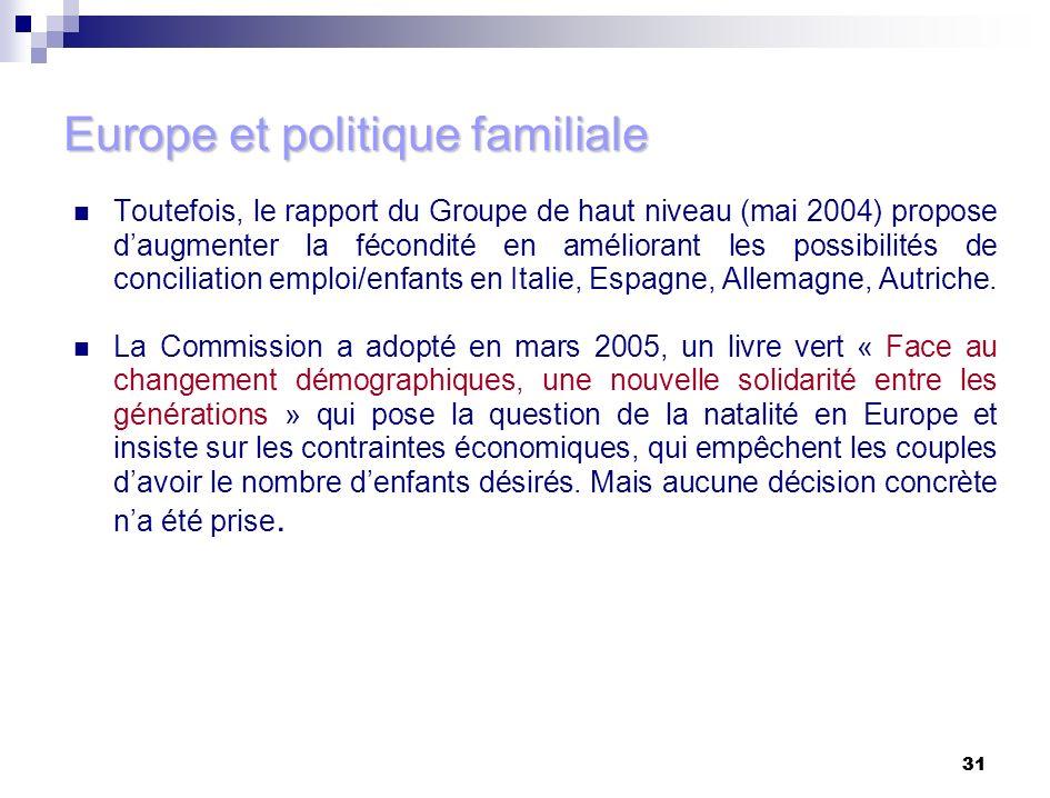 31 Europe et politique familiale Toutefois, le rapport du Groupe de haut niveau (mai 2004) propose daugmenter la fécondité en améliorant les possibili