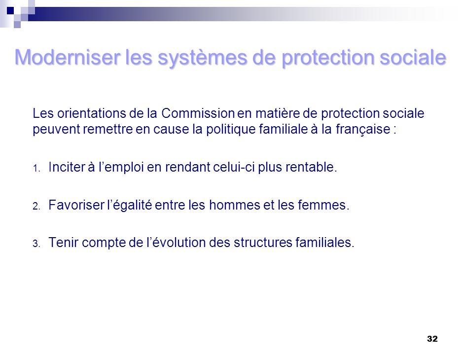 32 Moderniser les systèmes de protection sociale Les orientations de la Commission en matière de protection sociale peuvent remettre en cause la polit