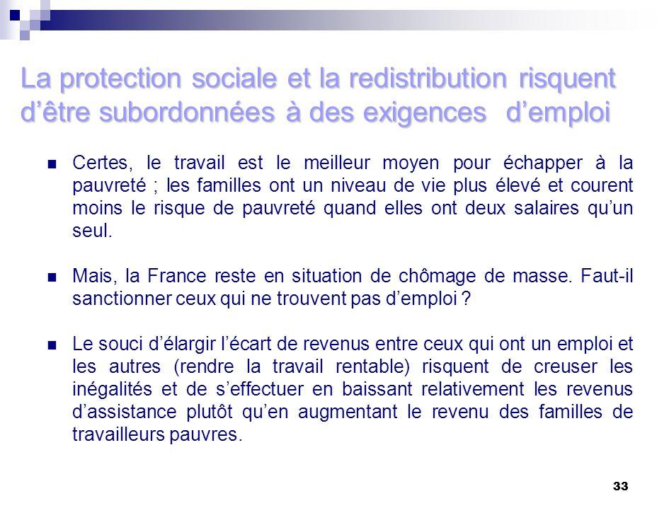 33 La protection sociale et la redistribution risquent dêtre subordonnées à des exigences demploi Certes, le travail est le meilleur moyen pour échapp