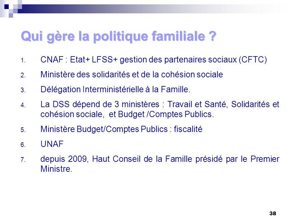38 1. CNAF : Etat+ LFSS+ gestion des partenaires sociaux (CFTC) 2. Ministère des solidarités et de la cohésion sociale 3. Délégation Interministériell