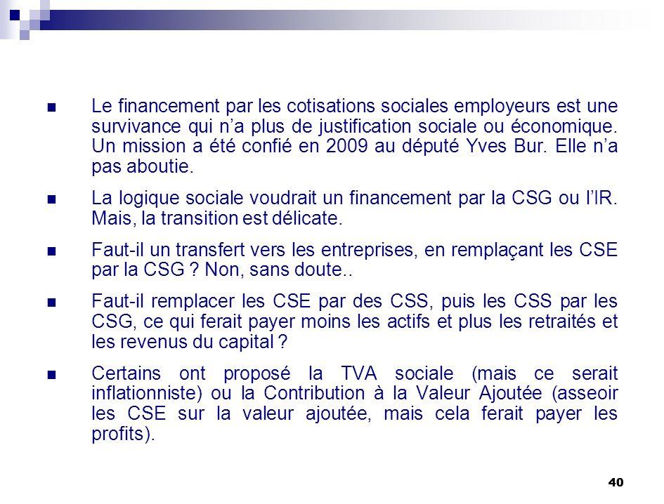 40 Le financement par les cotisations sociales employeurs est une survivance qui na plus de justification sociale ou économique. Un mission a été conf