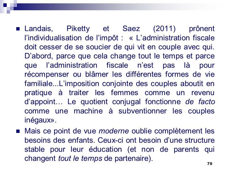 79 Landais, Piketty et Saez (2011) prônent lindividualisation de limpôt : « Ladministration fiscale doit cesser de se soucier de qui vit en couple ave