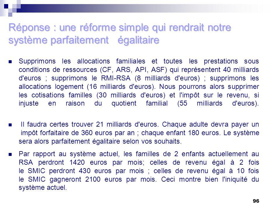 96 Réponse : une réforme simple qui rendrait notre système parfaitement égalitaire Supprimons les allocations familiales et toutes les prestations sou