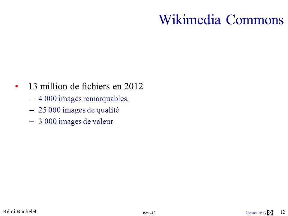 Rémi Bachelet 12 Licence cc-by Wikimedia Commons 13 million de fichiers en 2012 – 4 000 images remarquables, – 25 000 images de qualité – 3 000 images