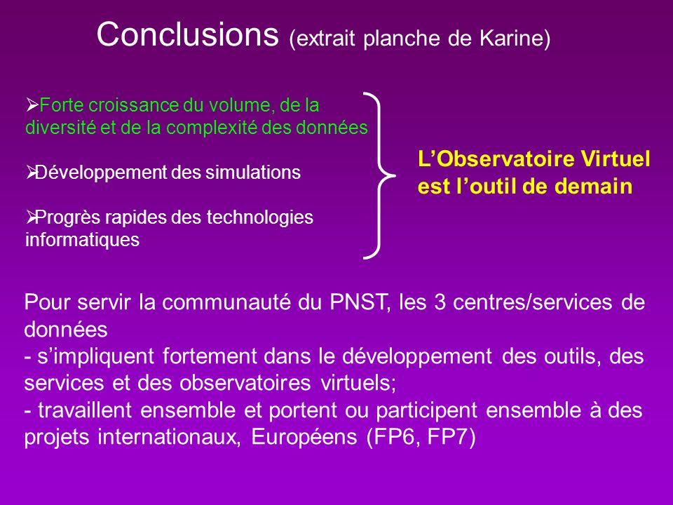 Conclusions (extrait planche de Karine) Forte croissance du volume, de la diversité et de la complexité des données Développement des simulations Prog