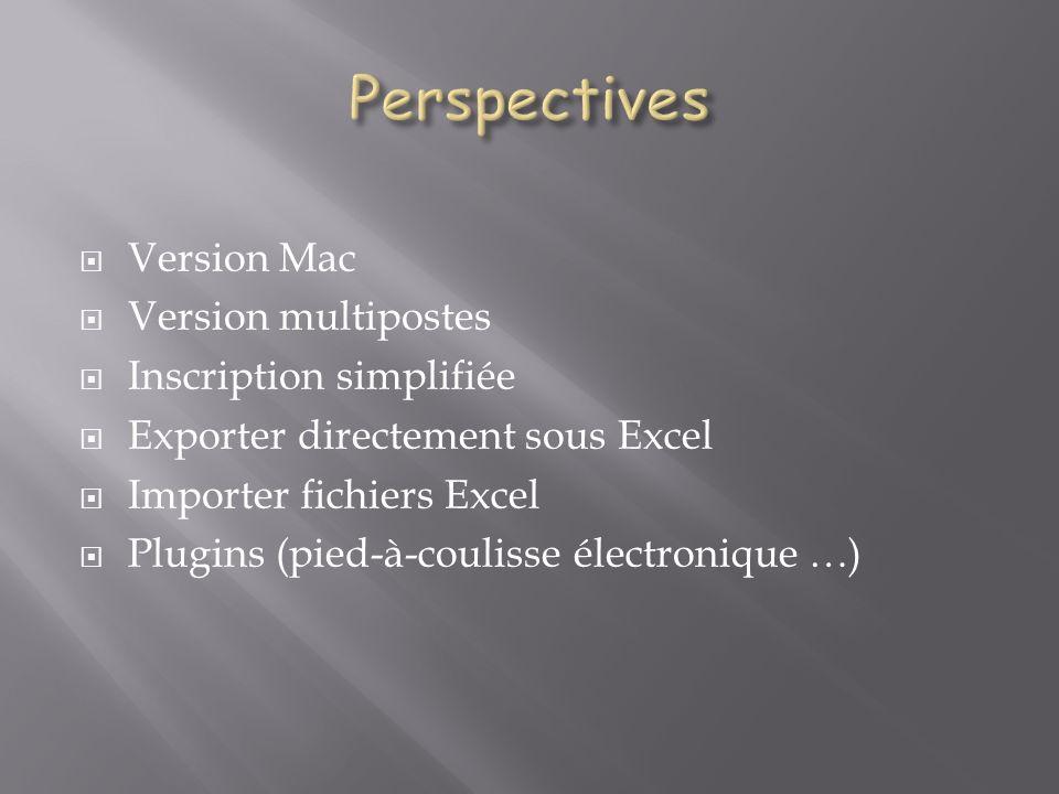 Version Mac Version multipostes Inscription simplifiée Exporter directement sous Excel Importer fichiers Excel Plugins (pied-à-coulisse électronique …