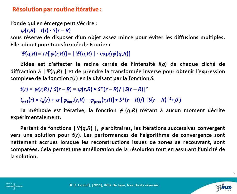 Londe qui en émerge peut sécrire : (r,R) = t(r) S(r R) sous réserve de disposer dun objet assez mince pour éviter les diffusions multiples. Elle admet
