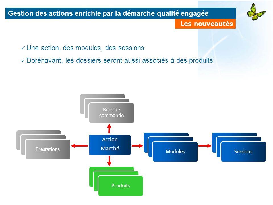 Gestion des actions enrichie par la démarche qualité engagée Les nouveautés Prestations Bons de commande Produits Action Marché Modules Sessions Une a