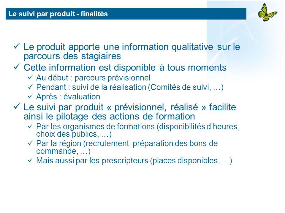 Le suivi par produit - finalités Le produit apporte une information qualitative sur le parcours des stagiaires Cette information est disponible à tous