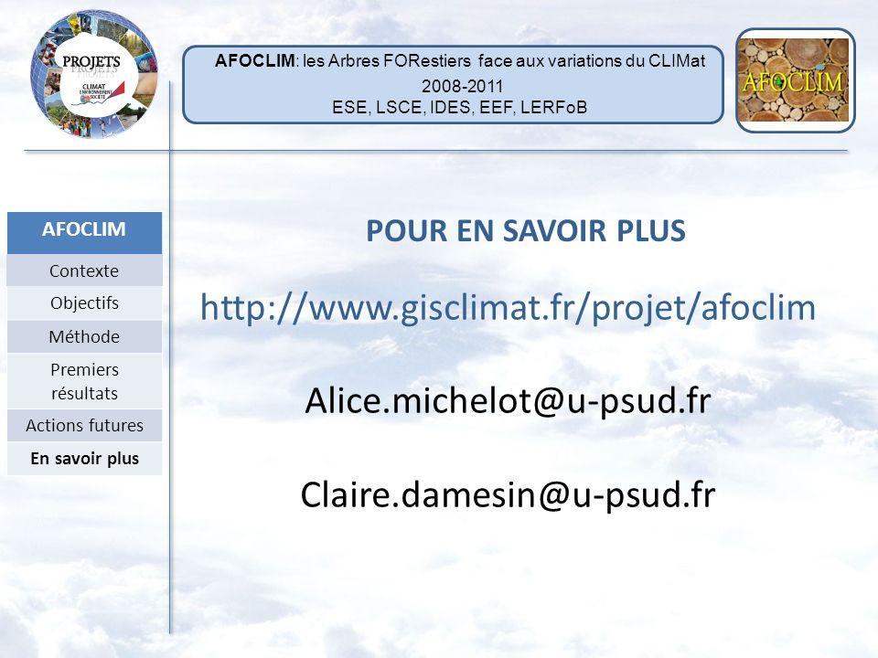 AFOCLIM Contexte Objectifs Méthode Premiers résultats Actions futures En savoir plus LSCE CEA, CNRS, UVSQ Valérie Daux Monique Pierre Michel Stievenar