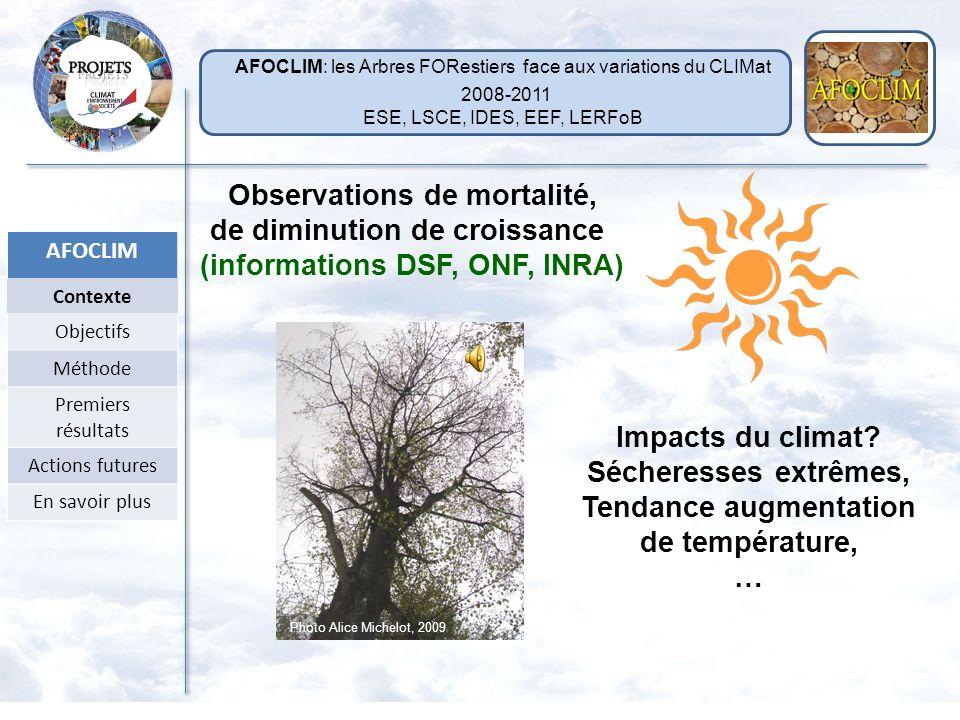 Observations de mortalité, de diminution de croissance (informations DSF, ONF, INRA) Impacts du climat.