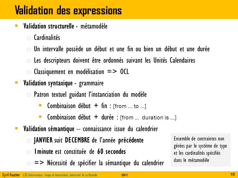 Cyril Faucher L3i (Informatique, Image et Interaction), Université de La RochelleIDM11 Validation des expressions Exemples de diagnostics 8 ème jour d