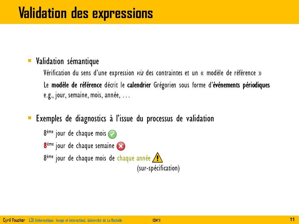 Cyril Faucher L3i (Informatique, Image et Interaction), Université de La RochelleIDM11 Validation des expressions 8 ème jour de chaque mois 8 ème jour