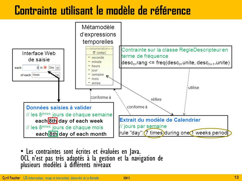 Cyril Faucher L3i (Informatique, Image et Interaction), Université de La RochelleIDM11 Contrainte utilisant le modèle de référence Les contraintes son