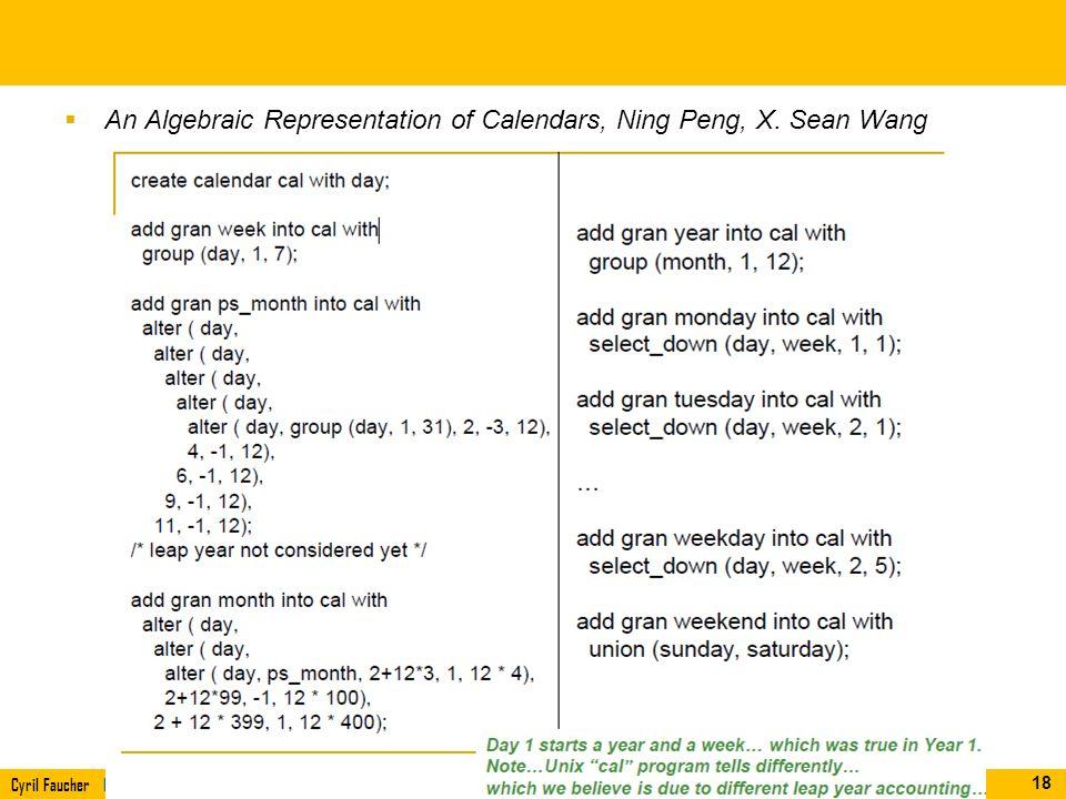 Cyril Faucher L3i (Informatique, Image et Interaction), Université de La RochelleIDM11 An Algebraic Representation of Calendars, Ning Peng, X. Sean Wa