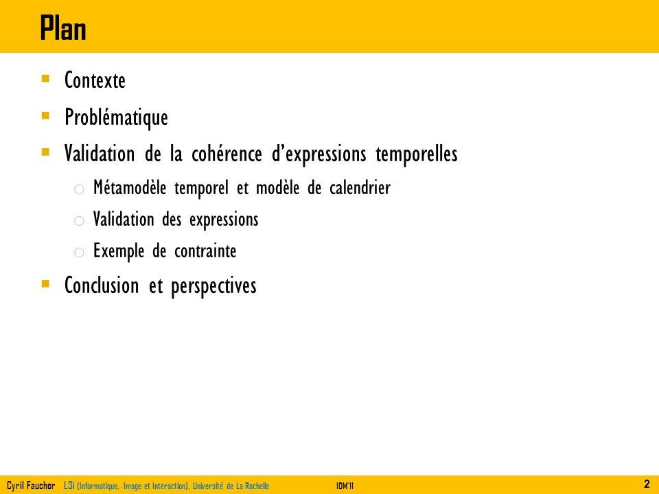 Cyril Faucher L3i (Informatique, Image et Interaction), Université de La RochelleIDM11 Plan Contexte Problématique Validation de la cohérence dexpress