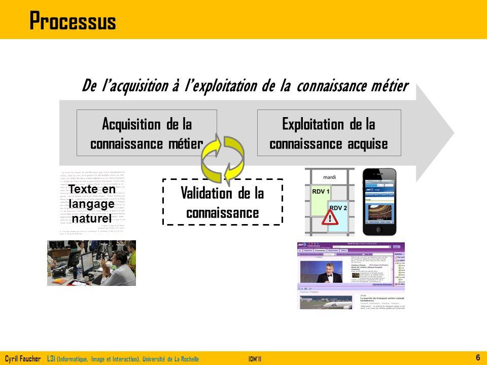 Cyril Faucher L3i (Informatique, Image et Interaction), Université de La RochelleIDM11 De lacquisition à lexploitation de la connaissance métier Acqui