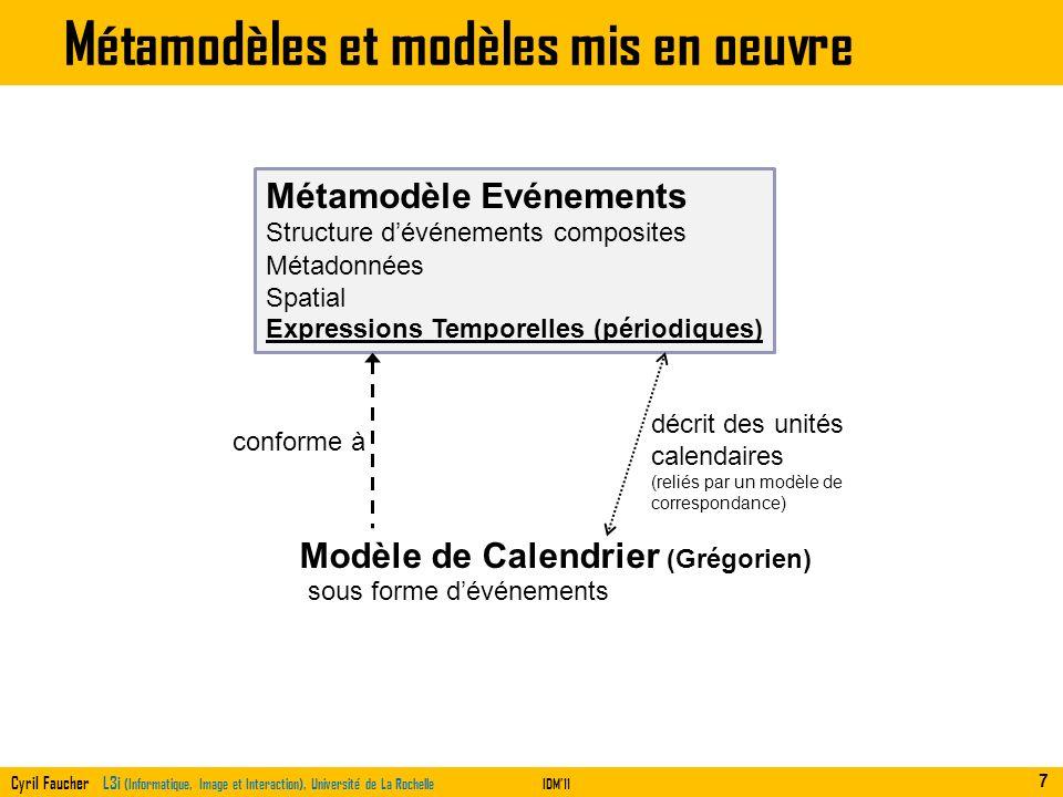 Cyril Faucher L3i (Informatique, Image et Interaction), Université de La RochelleIDM11 Métamodèles et modèles mis en oeuvre 7 Métamodèle Evénements Mo
