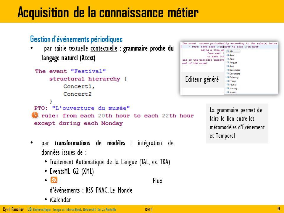 Cyril Faucher L3i (Informatique, Image et Interaction), Université de La RochelleIDM11 Acquisition de la connaissance métier Gestion dévénements pério