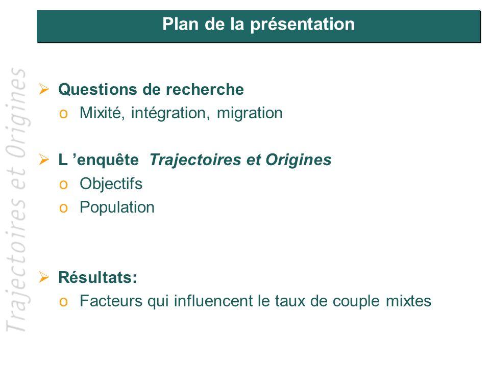 Plan de la présentation Questions de recherche oMixité, intégration, migration L enquête Trajectoires et Origines oObjectifs oPopulation Résultats: oF