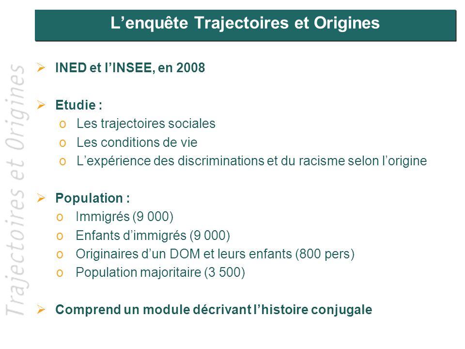 Lenquête Trajectoires et Origines INED et lINSEE, en 2008 Etudie : oLes trajectoires sociales oLes conditions de vie oLexpérience des discriminations