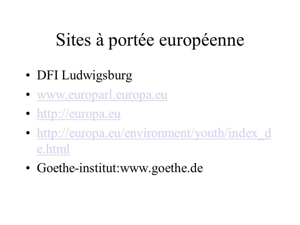 Sites à portée européenne DFI Ludwigsburg www.europarl.europa.eu http://europa.eu http://europa.eu/environment/youth/index_d e.htmlhttp://europa.eu/en