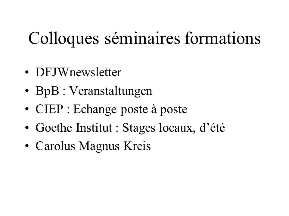 Colloques séminaires formations DFJWnewsletter BpB : Veranstaltungen CIEP : Echange poste à poste Goethe Institut : Stages locaux, dété Carolus Magnus