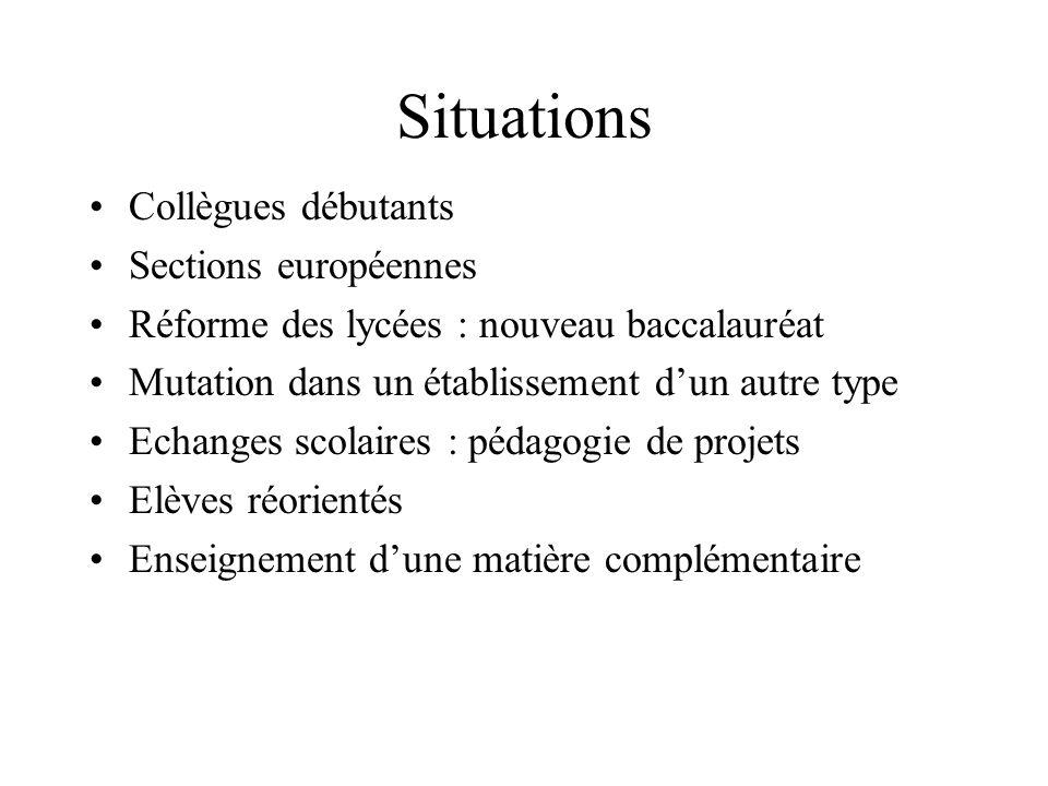 Situations Collègues débutants Sections européennes Réforme des lycées : nouveau baccalauréat Mutation dans un établissement dun autre type Echanges s