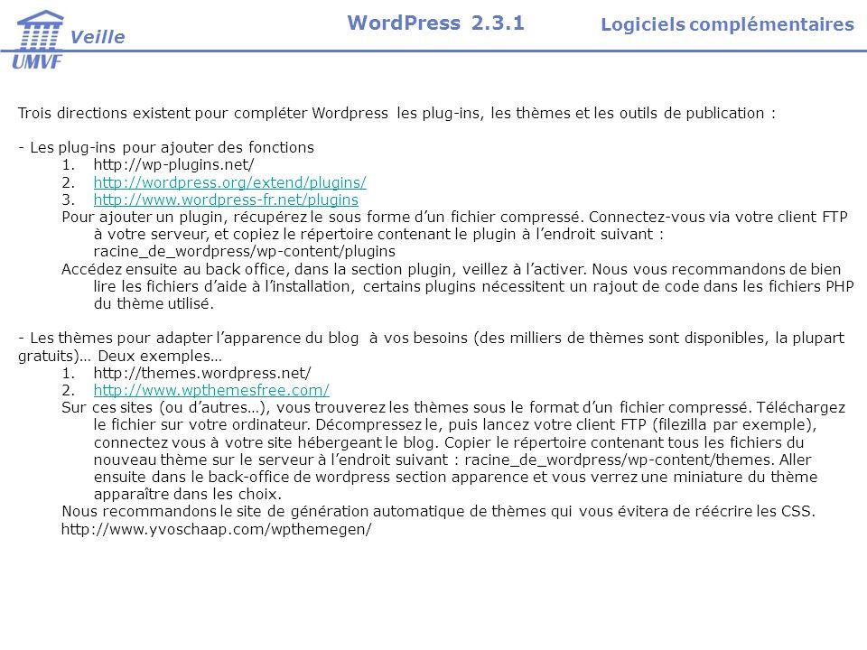 Trois directions existent pour compléter Wordpress les plug-ins, les thèmes et les outils de publication : - Les plug-ins pour ajouter des fonctions 1