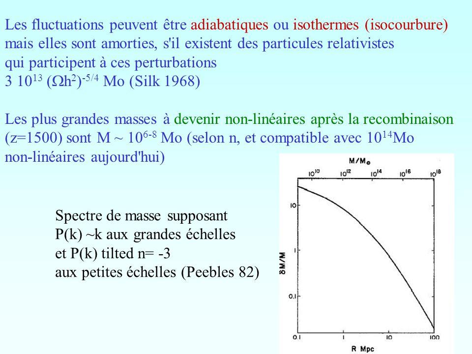 Les fluctuations peuvent être adiabatiques ou isothermes (isocourbure) mais elles sont amorties, s'il existent des particules relativistes qui partici