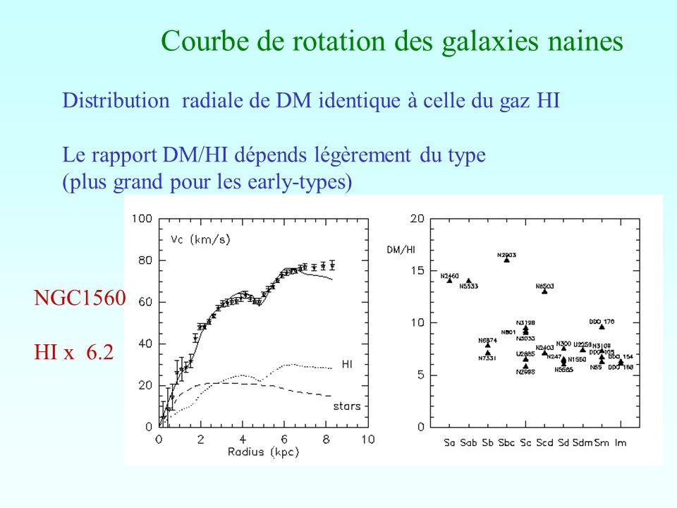 Courbe de rotation des galaxies naines Distribution radiale de DM identique à celle du gaz HI Le rapport DM/HI dépends légèrement du type (plus grand
